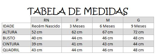 Tabela de Medidas BB