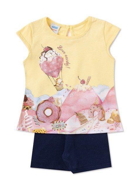 Conjunto Infantil Menina Cotton Amarelo Claro 40302 Marlan